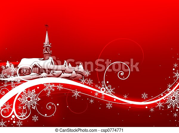 Abstract red xmas - csp0774771