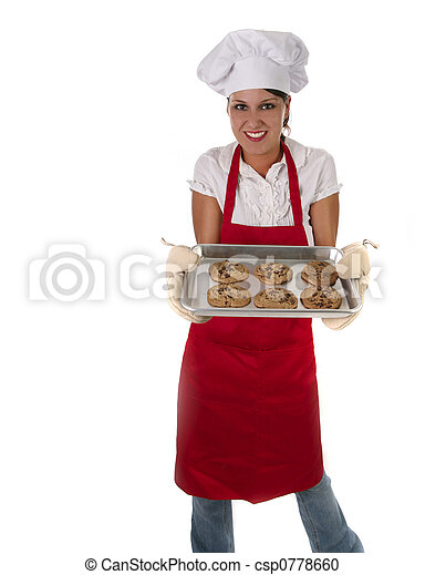 Woman in Apron Baking Cookies - csp0778660