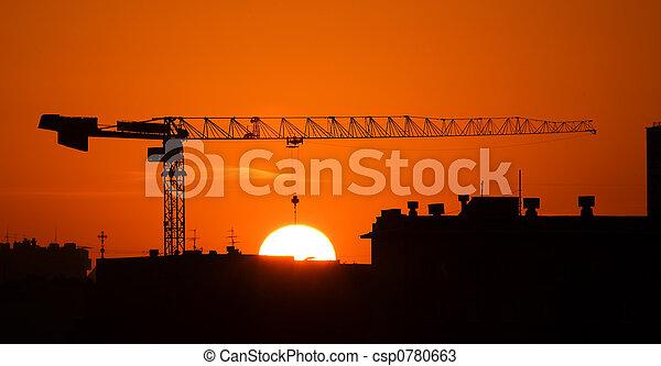 Crane and the sun - csp0780663
