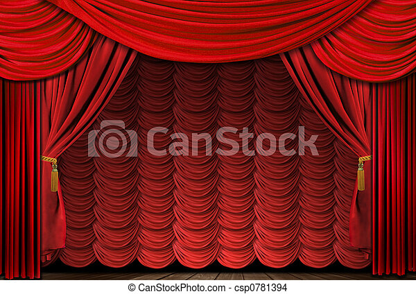 Old fashioned, elegant red theater stage drapes - csp0781394