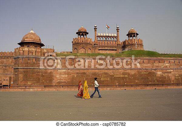 Red Fort Sari Delhi India - csp0785782