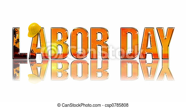 Labor Day embossed reflectiv dimensional wording on white background