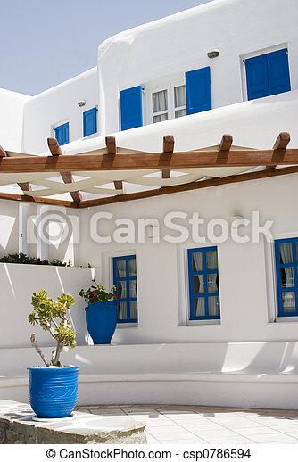 grek, typisk, arkitektur, öar - csp0786594