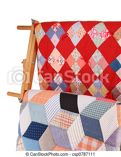 Two Quilts On A Wood Rack - csp0787111
