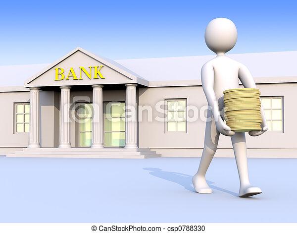 Bank & man & money 1 - csp0788330