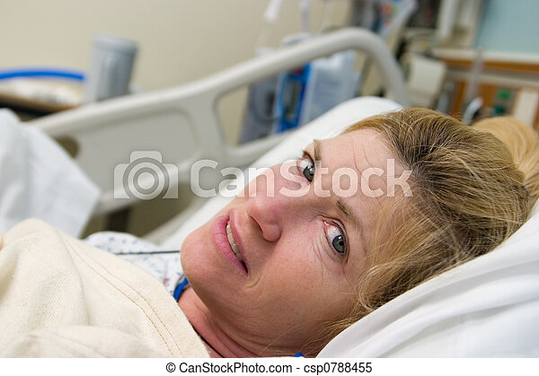 Sick Patient in Hospital Bed - csp0788455