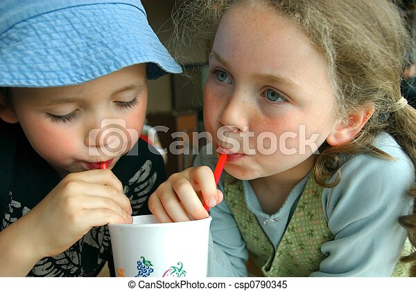 Stock Images of children sharing drink - boy and girl sharing one ...: www.canstockphoto.com/children-sharing-drink-0790345.html