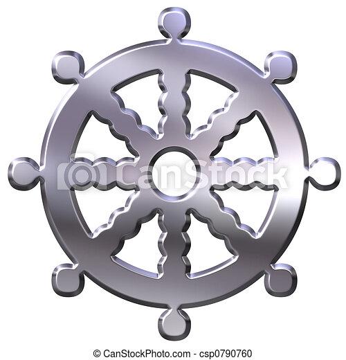 illustration de bouddhisme symbole 3d argent bouddhisme symbole roue csp0790760. Black Bedroom Furniture Sets. Home Design Ideas