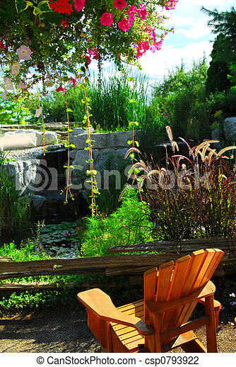 Patio and pond landscaping - csp0793922