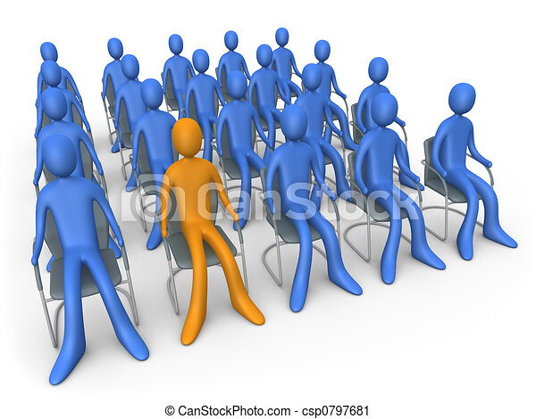 Clipart of Sitting Out Of The Crowd - Group of people ...