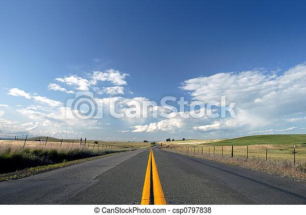 Rural Two Lane Road - csp0797838