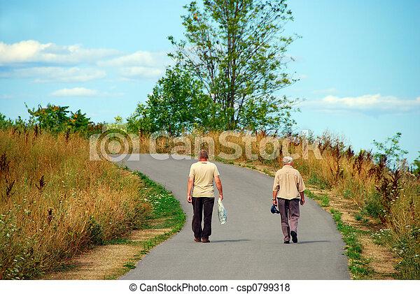 Elderly Friends Walking - csp0799318
