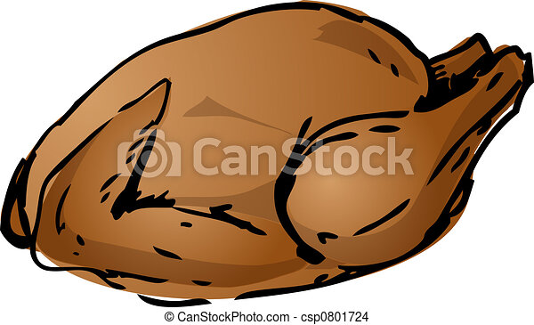 Chicken Meat Drawing Whole Roast Chicken Meat Dish