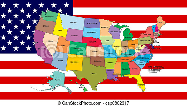 Drawing Of Map Of USA With Chicago Text American Flag Illustration - Us flag map