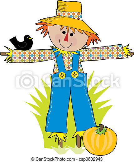 funny scare crow in a field with a crow csp0802943 - Search Clipart ...