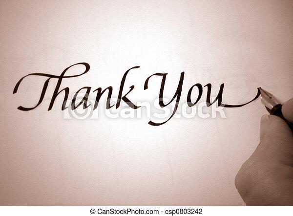 callligraphy thank you - csp0803242