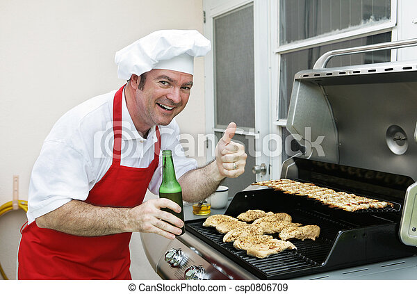 A man in a chef hat cooking chicken and shrimp on the barbecue grill.