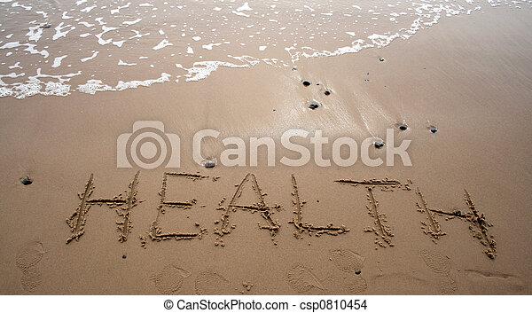 -, Areia, saúde, escrita - csp0810454
