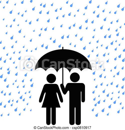 Secure Umbrella Couple Rain - csp0810917