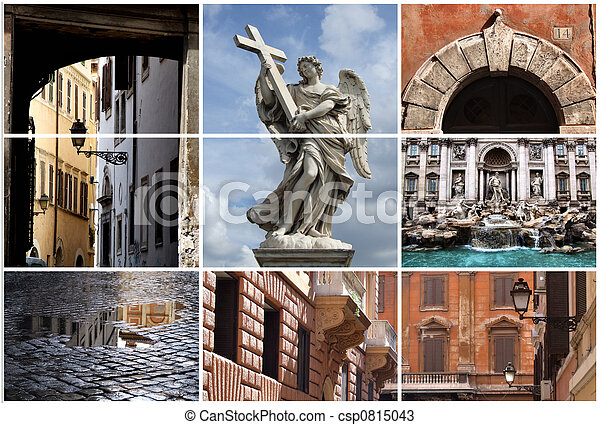 Rome landmarks collage - csp0815043