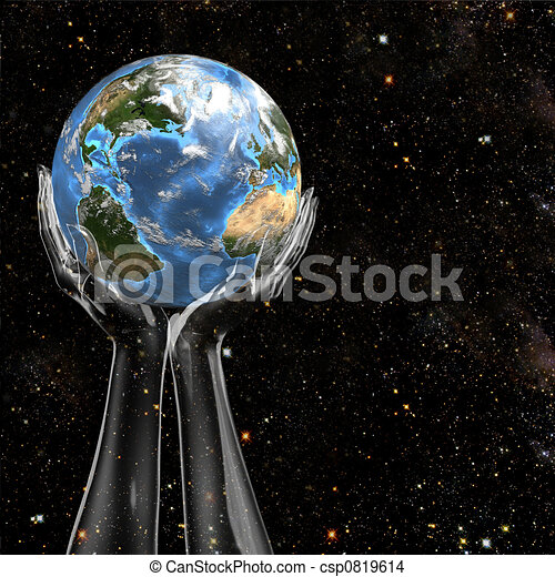Hands Hold Earth in Space - csp0819614