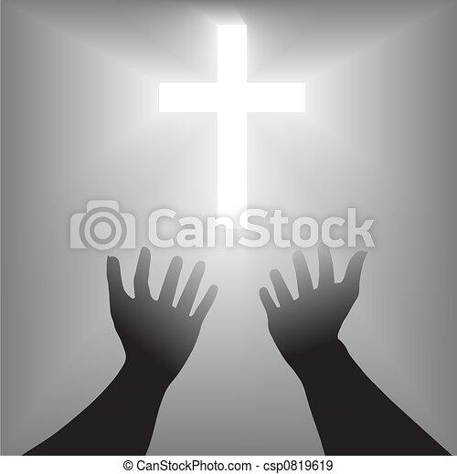 Supplication Hands Cross Silhouette - csp0819619