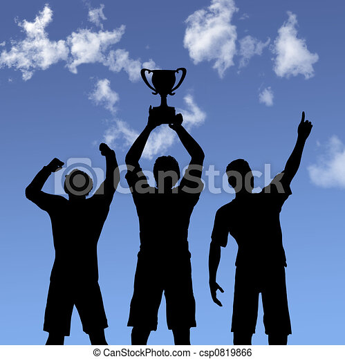 Trophy Celebration Silhouettes on Sky - csp0819866
