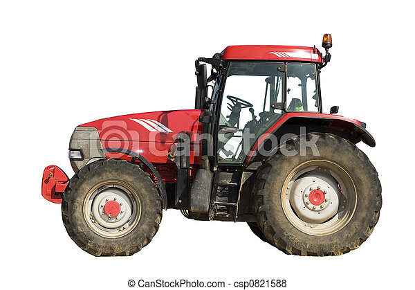 Isolated red tractor - csp0821588