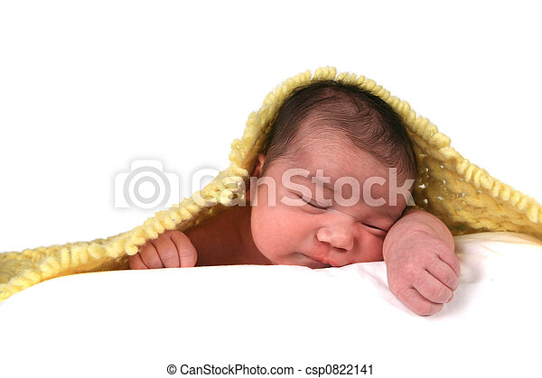 Infant Baby Girl on White Background - csp0822141