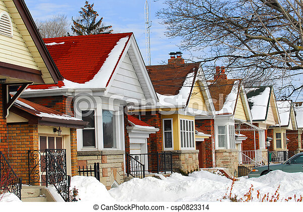 Maisons, hiver - csp0823314