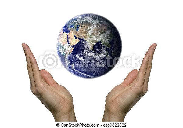 Clip art de prier la terre 2 deux mains prier pour notre bleu csp0823622 - Dessin 2 mains ...