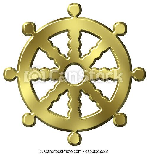 clip art de bouddhisme symbole 3d dor bouddhisme symbole roue csp0825522. Black Bedroom Furniture Sets. Home Design Ideas