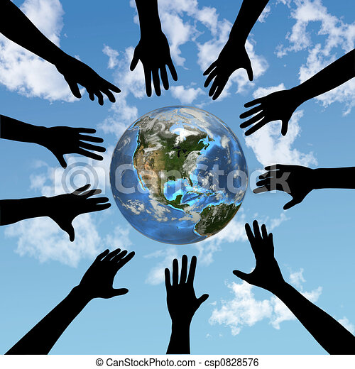 People hands reach for globe earth - csp0828576