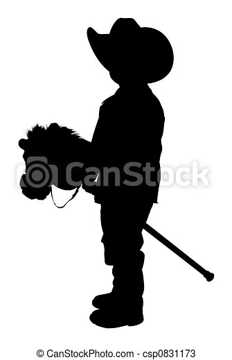 Silhouette With  of Little Cowboy - csp0831173