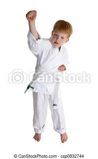 boy in gi making karate moves over white