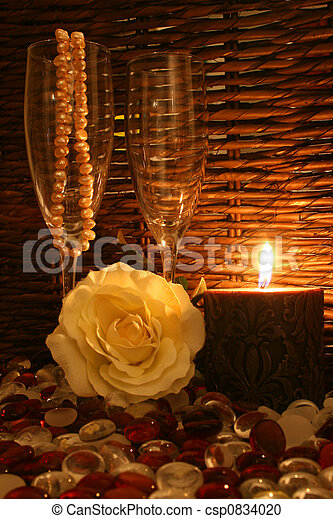 Stock Photography Of White Rose And Candle Romantic Dim