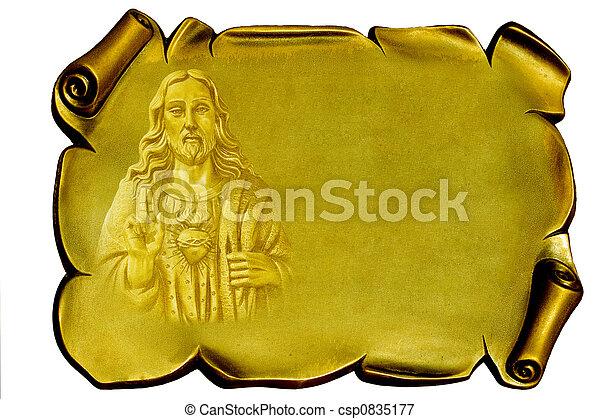 Jesus on a golden plaque - csp0835177