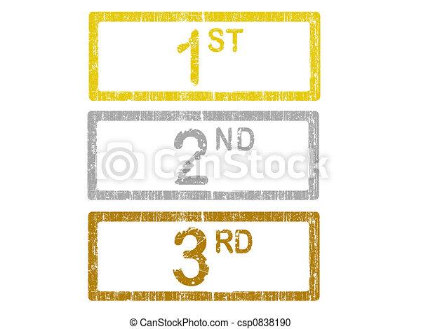 illustration 3 grunge bureau timbres 1er 2 me 3 me banque d 39 illustrations. Black Bedroom Furniture Sets. Home Design Ideas