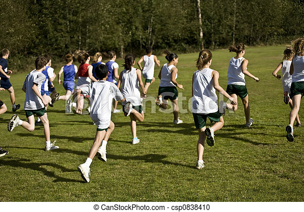Cross Country Runners Leave the Starting Line
