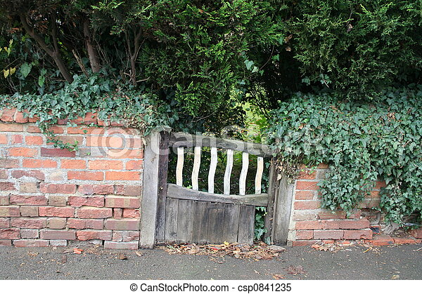 rustique, bois, portail, et, mur - csp0841235