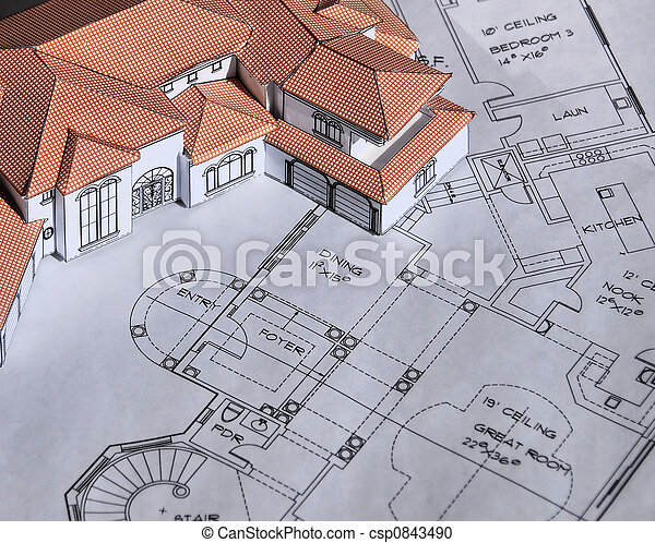 model home with blueprints