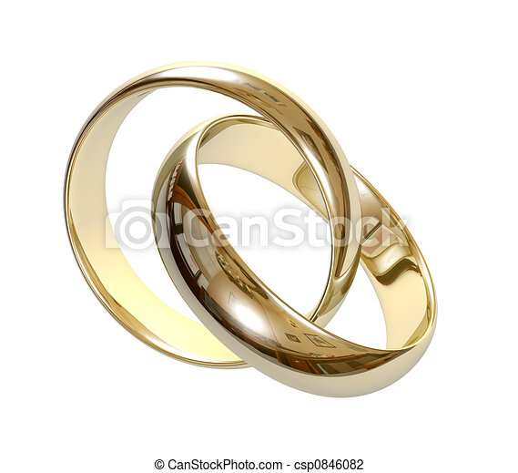 Clip Art de mariage, Anneaux, 3D - deux, mariage, anneau, sur, a, gris ...