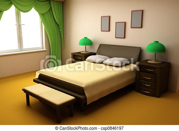 Illustrations de intérieur, chambre à coucher, confortable, 3d ...