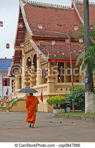 Buddhist Monk in Laos - csp0847886