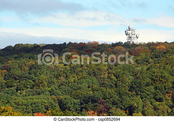 Microwave Tower on a mountain top - csp0852694