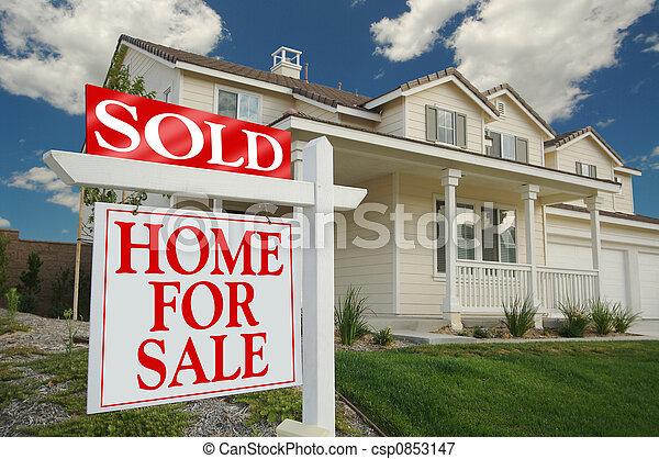 casa, venduto, vendita, segno - csp0853147