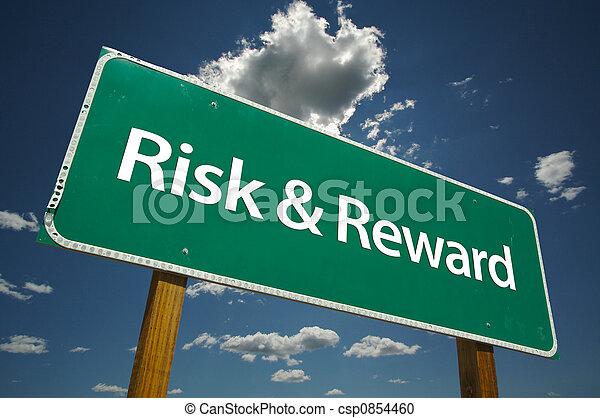 Risk & Reward Road Sign - csp0854460