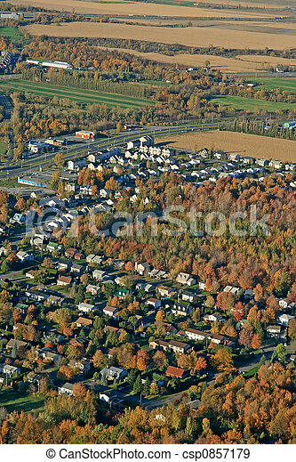 Aerial view of houses and fields - csp0857179