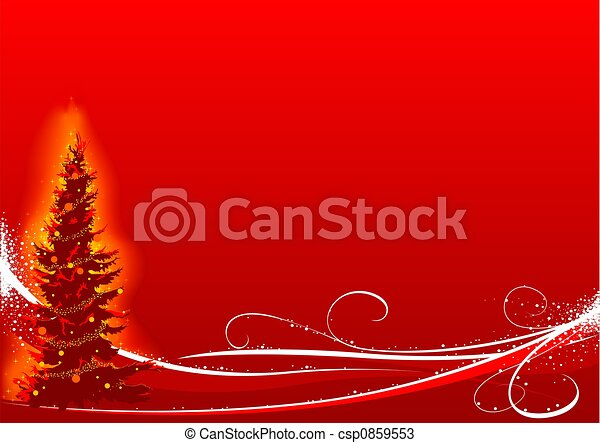 Red Christmas Tree - csp0859553