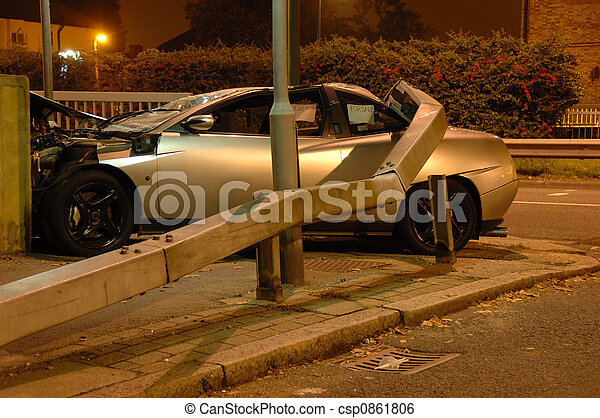 Car crashed under barrier - csp0861806